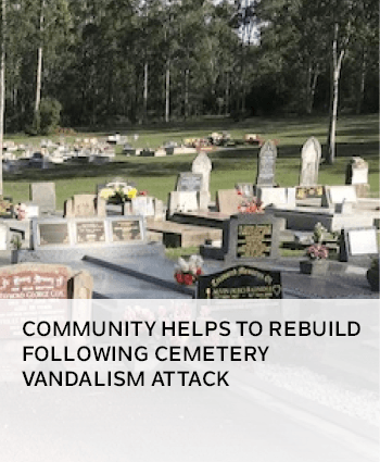 Community helps to rebuild following cemetery vandalism attack