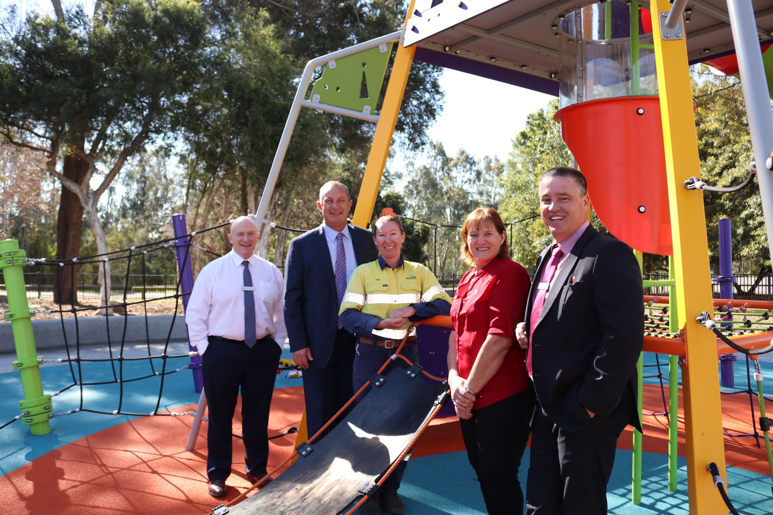 Mark Ihlein, Amy White, Michael Johnsen MP, Mayor Sue Moore and Jason Linnane at Rose Point Park.