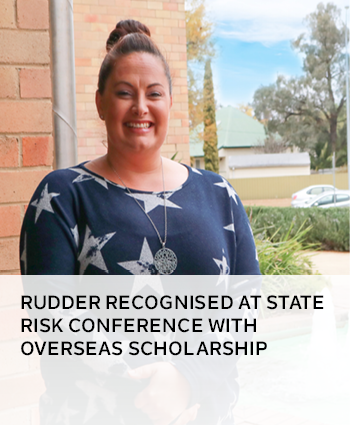 Rudder recognised at State Risk Conference with overseas scholarship
