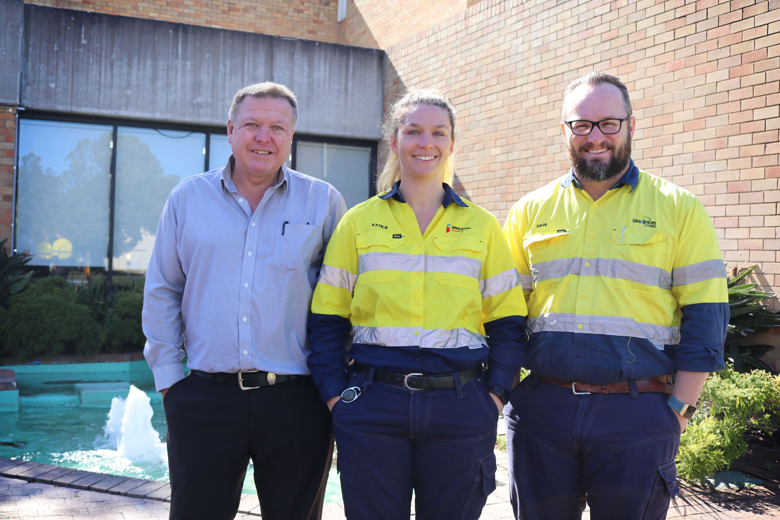 Singleton Council water and sewer team members Jon Fitzgerald, Katie Bell and Dave Tynan.
