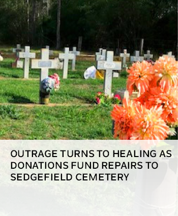 Outrage turns to healing as donations fund repairs to Sedgefield Cemetery