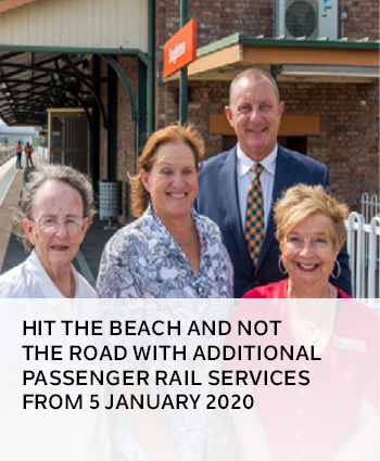 Hit the beach and not the road with additional passenger rail services from 5 January 2020