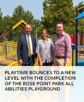 Playtime bounces to a new level with the completion of the Rose Point Park all abilities playground
