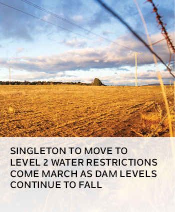 Singleton to move to level 2 water restrictions come March as dam levels continue to fall