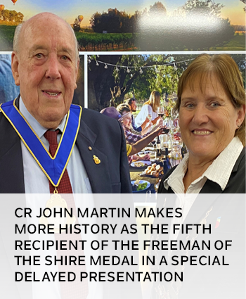 Cr John Martin makes more history as the fifth recipient of the Freeman of the Shire Medal in a spec